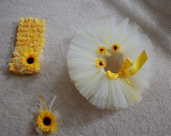 Little Miss Sunshine Yellow Lace Romper,Tutu & headband Set embellished with sunflowers- newborn-6 months