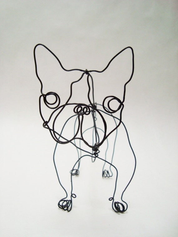 French bull dog mr snubbers wire sculpture for Dog wire art