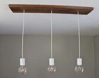 Modern Triple Bulb Wood Canopy Light
