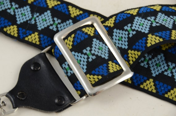 Vtg Boho Diamondback Woven Camera Strap, Cerulean Blue//Mustard Palette, Exc Con