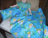 Mermaid Print Blanket and Pillow for American Girl Doll or 18 inch Dolls