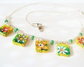 Floral Hand Painted Charm Necklace, spring flowers handpainted on small clay tablets