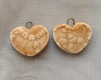 Pretty Valentine Lacy Golden Carmel Heart Ceramic Charms Set