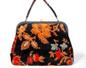 Spilene Doctor's Bag Floral Chenille Carpetbag Classic Vintage Bags & Purses Accessories Retro Fashion Fall Fashion Gift for Her c1960s