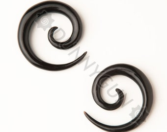 4G Pair Black Horn Spirals Gauged Plugs Organic Hand Carved Body Piercing Jewelry 4 Gauge Earrings