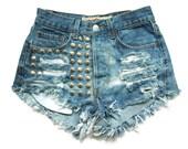 Studded denim high waist shorts XS