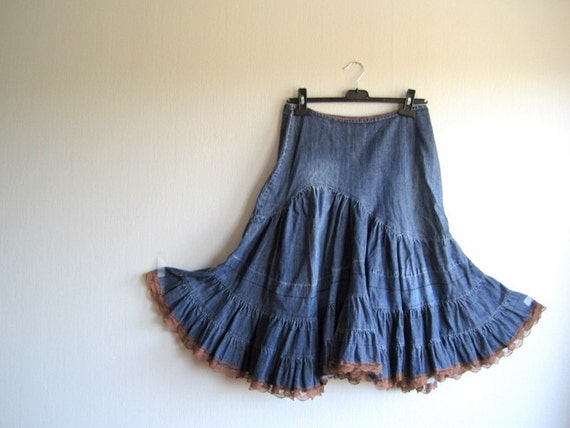 vintage denim skirt with lace avant garde size m