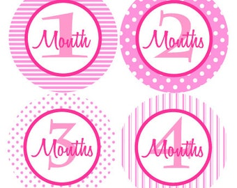 BABY MONTH STICKERS -  Girl Monthly Milestone Stickers - Hot Pink & Light Pink Baby Month Stickers - Baby Shower Gift - Photo Prop - Prim-T
