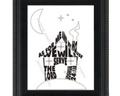 Joshua House - Typographic Print of Joshua 24:15 b - As for me and my house, we will serve the Lord.
