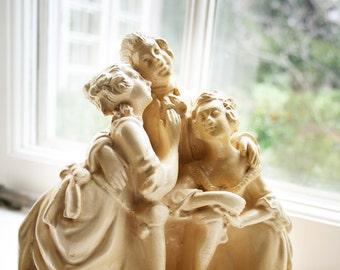 Vintage Victorian Figurine Figures 1940s 40s 1950s 50s Chalkware