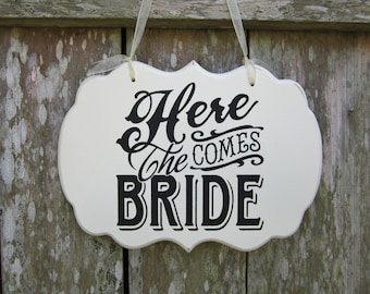 "Wedding Sign Hand Painted Wooden Cottage Chic Flower Girl / Ring Bearer Sign, ""Here Comes The Bride"""