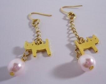 Cute Cat Long Earrings. Handmade