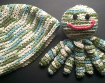 Crochet blue, green & white Baby beanie and octopus gift set- amigurumi- baby toy- stuffed animal
