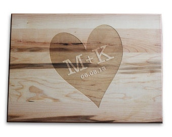 Unique Wedding Gift Idea Bridal Shower Gift Cutting Board 10x14 Maple Custom Laser Engraved