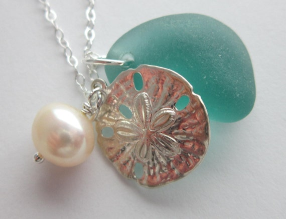 Sterling Silver Sand Dollar, Freshwater Pearl and Teal Green Puerto Rican Beach Glass Necklace - Ocean Lover, Sea Glass, Sea Life, For Her