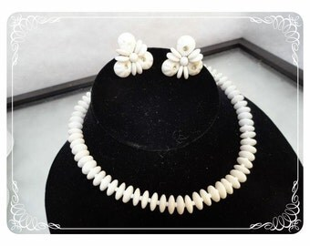 Summer White Vintage Western Germany Necklace & Earring Demi Set   -   2834a-121012000