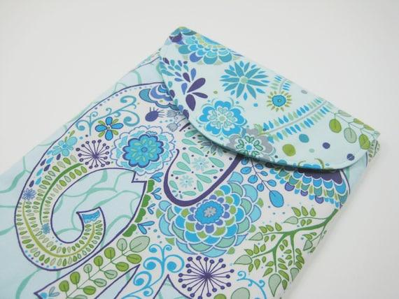 Elephant iPad Cover, Elephant iPad Case, iPad Sleeve, Padded with Flap in Blue Elephant Print