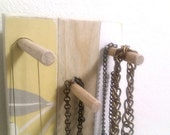 Jewelry Holder Key Rack, Timber birch yellow floral color housewarming gift