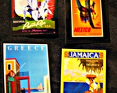 Vintage Travel Poster Art Magnet Set (set of 4 magnets-Puerto Rico, Mexico, Greece, and Jamaica))