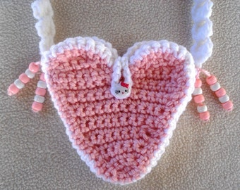 Girls Pink Heart Mini Purse Crochet with Kitty Button and Beads