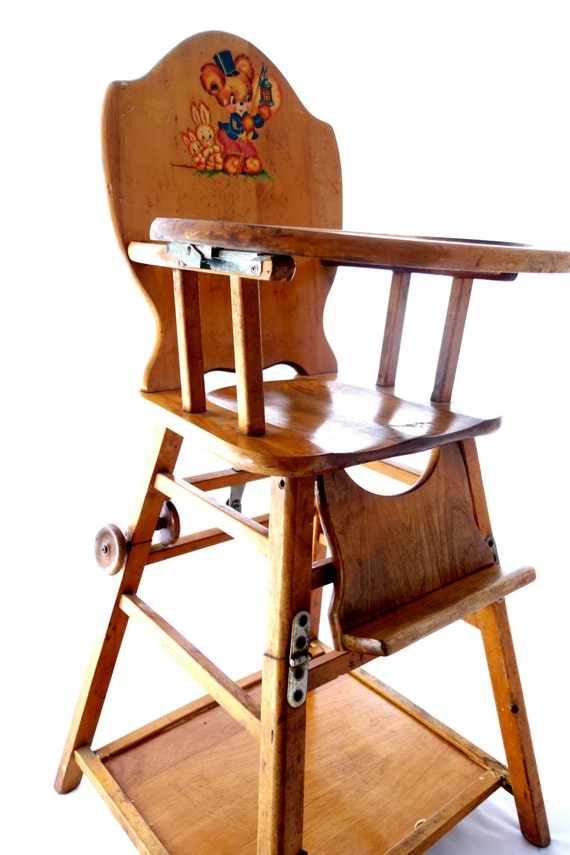 Vintage Baby High Chair Converts To Low Play Chair Desk On