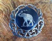Siam Elephant Pin : Vintage and Lovely Niello Sterling Good Luck Excellent Etched Detail