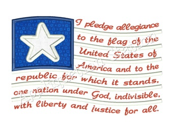 Pledge of Allegiance Flag Applique Machine Embroidery Design Pattern patriotic 4th of July Red White Blue INSTANT DOWNLOAD