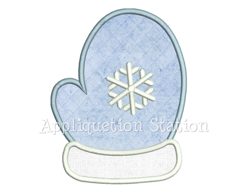 Mitten snowflake applique machine embroidery design