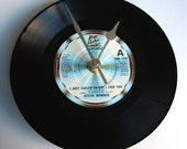 """STEVIE WONDER Vinyl Record Clock from recycled 7"""" Motown single """"I Just Called To Say I Love You"""""""