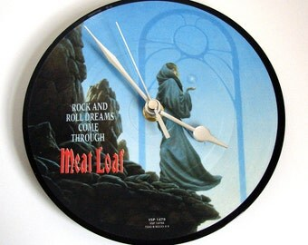 """Meatloaf CLOCK made from """"Rock and Roll Dreams Come Through"""" vinyl record picture disc rock metal fun gift 1980s retto best friend co worker"""
