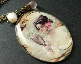 Narcissistic Beauty Necklace. Vintage Woman Charm Necklace with Pink Teardrop and Fresh Water Pearl. Handmade Jewelry.