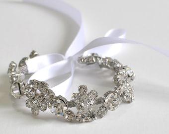 Bridal Jewelry-- Beaded Wedding Bracelet-Wedding Bracelet-Bridesmaid Gift,Bridal Bracelet,Bridesmaid Bracelet, Crystal Bracelet ,Bridal Gift