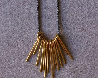 Burst Necklace in Brass