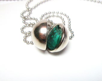 Ball  Locket  necklace -  round locket Pendant  - Sphere Locket  -Secret Message Necklace