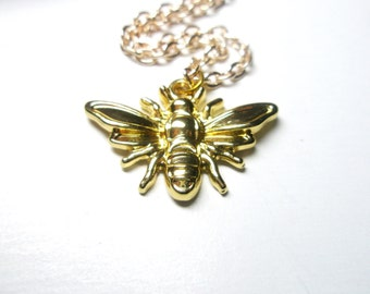Bee Necklace- Gold smiling bee pendant- Simple Everyday necklace, Birthday- Nature inspired-  Busy  Bee necklace-FREE GIFT With PURCHASE