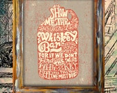 whiskey jar type typography rustic letter americana vintage wall art print poster home decor antique hand folk graphic design