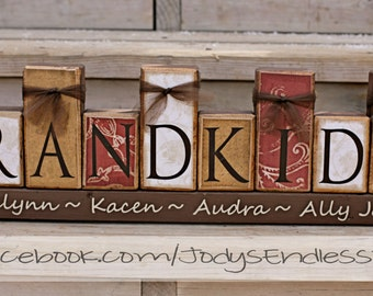 Grandchildren Name Blocks - Name Blocks - Mothers Day - Home Decoration - Grandma