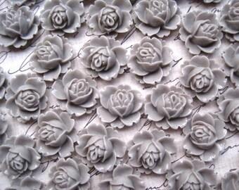 Resin Rose / 6 pcs Light Gray Resin Flowers / Rose Cabochons 18mm x 16mm