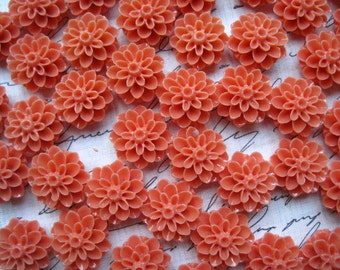 Coral Resin Flower, Dahlia, Mum Cabochon, 15mm, 6pcs, Perfect for Earrings, Rings, Bobby Pins and More