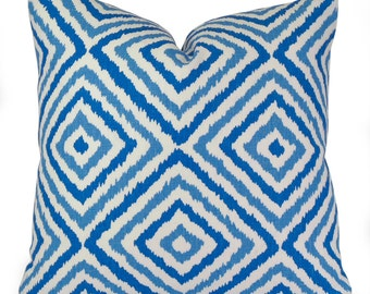 Jonathan Adler Electrify Azure Blue Modern Geometric Ikat Pillow Cover - Decorative Pillow Case - Throw Pillow Sham - 18x18 20x20 or Lumbar