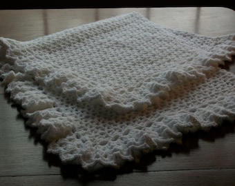 Baby/Child Blanket/Afghan Unisex Hand Crocheted Snow White Lacy Border Oversize 46 Inches Square  READY TO SHIP