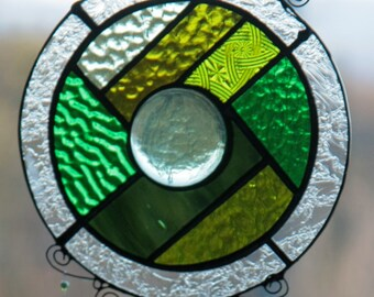 Stained Glass, Sun Catcher,Stained glass panel,Beach Glass, Recycled