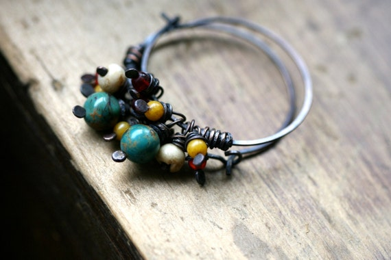 Rustic Festive Hoops Collection-Rustic,Earthy,Summery,Folk,Musical,Tribal,Primitive,Tribalis,Raw,Turquoise,Symmetrical,Mix Colors