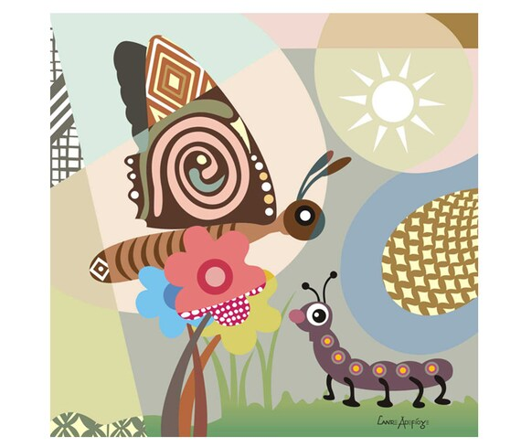 "Caterpillar Art on Wood Block -  Inspirational Butterfly Print -  Cycles of Life Art - Brown, Pink, Yellow, Sky Blue - 16"" X 16"" X 1.5"""