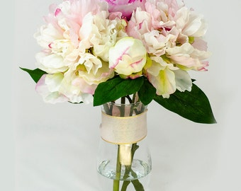 Baby Pink Fuchsia Silk Peony Arrangement in Glass Vase as Home Decor Artificial Faux Floral Arrangement