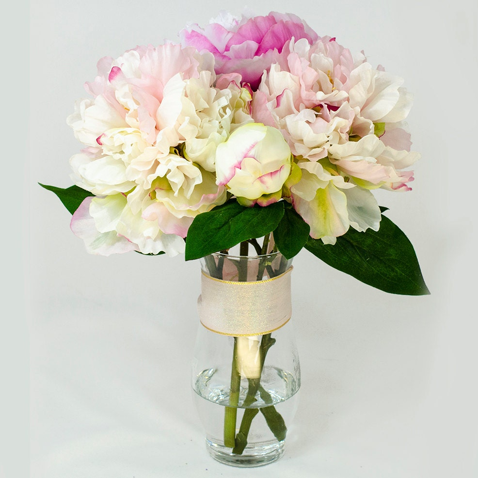 Baby pink fuchsia silk peony arrangement in glass vase as home zoom dhlflorist Images