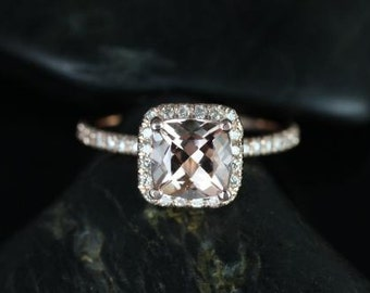 Pernella 7mm 14kt Rose Gold Cushion Morganite and Diamonds Halo Engagement Ring (Other metals and stone options available)