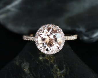 Kubian 8mm 14kt Rose Gold Round Morganite and Diamonds Halo Engagement Ring (Other metals and stone options available)
