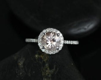 Rosados Box Kubian 7mm 14kt White Gold Round Morganite and Diamonds Halo Engagement Ring