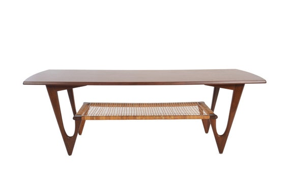 Danish Modern Atomic V Legged Teak Coffee Table By Kurt